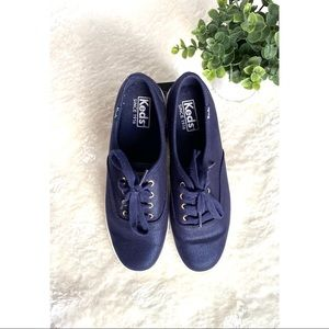 Keds Lace-Up Metallic Navy Sneakers